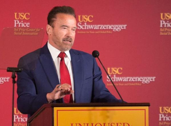Arnold schwarznenegger giving speech