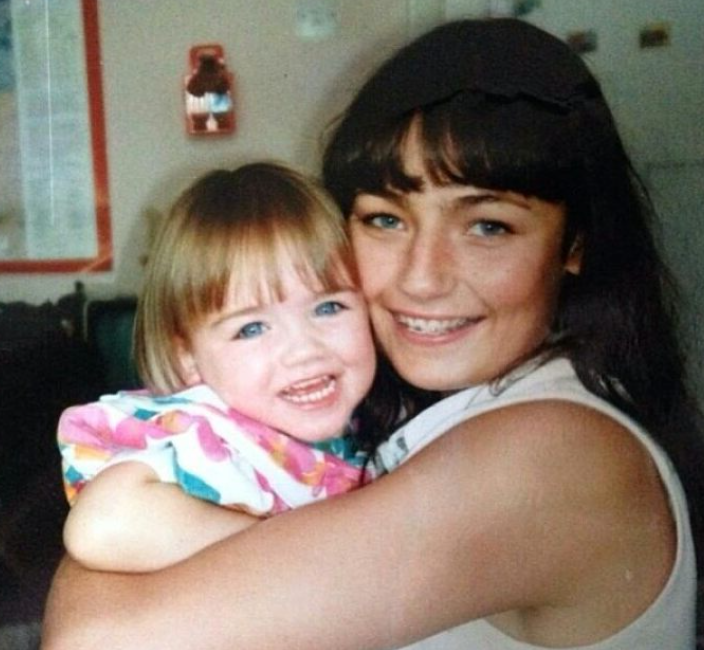 Little danielle with her mother