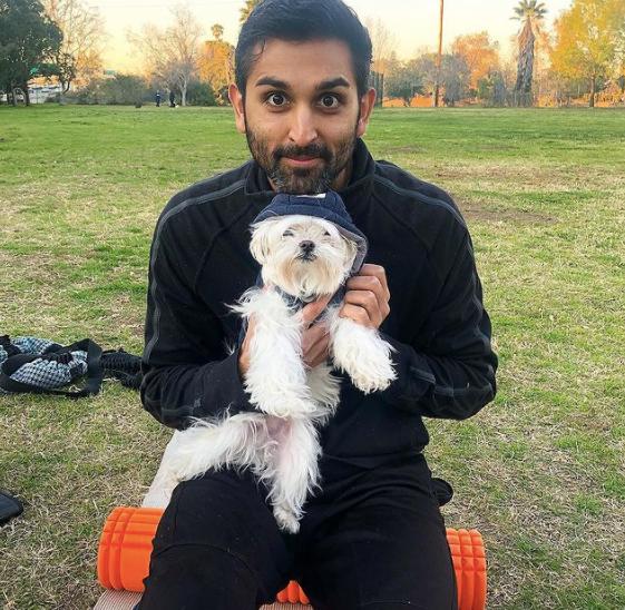 feraz ozel with his dog